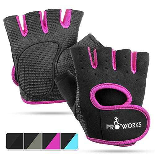 Proworks Ladies Fingerless Gym Gloves | Padded Weight Lifting Gloves for Women - Ideal as Cycling Gloves or for Lifting, Training, CrossFit, Rowing, Yoga & More - Black & Pink - Medium