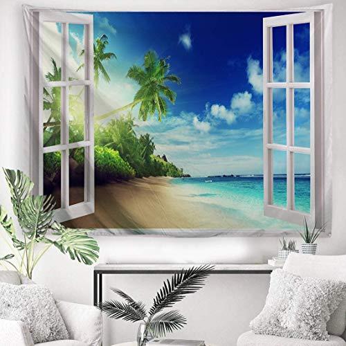 YeeATZ Tapiz de tela de poliéster para colgar en la pared, decoración de pared para dormitorio, dormitorio, sala de estar, clavo incluido – 150 cm x 100 cm – La playa fuera de la ventana