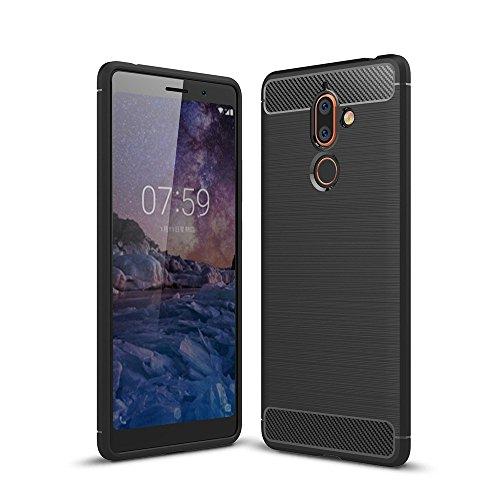 Cover Nokia 7 plus, Custodia resistente, GOGME [Serie fibra di carbonio] Armatura ultra sottile TPU flessibile, antiurto, crash, antipolvere, antigraffio, perfettamente adatta al tuo Nokia 7 plus.nero