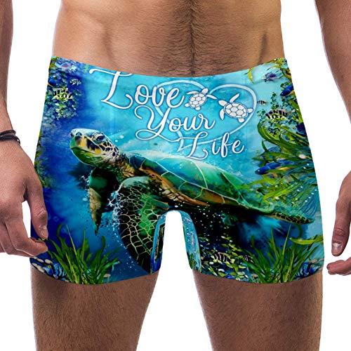 Nobrand Herren Schildkröten-Badeanzug, Badehose, Shorts, sportliche Bademode, Boxershorts, Boardshorts Gr. XL, mehrfarbig