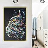 Pintura sin Marco Acuarela Cara de Gato Animal Lienzo de Pared Arte y póster decoración nórdica Sala de estarCGQ5107 20X30cm