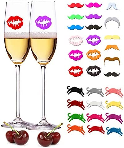 WZT 30 Pieces Silicone Drink Markers Wine Glass Markers Wine Charms Wine Glass identifier for product image