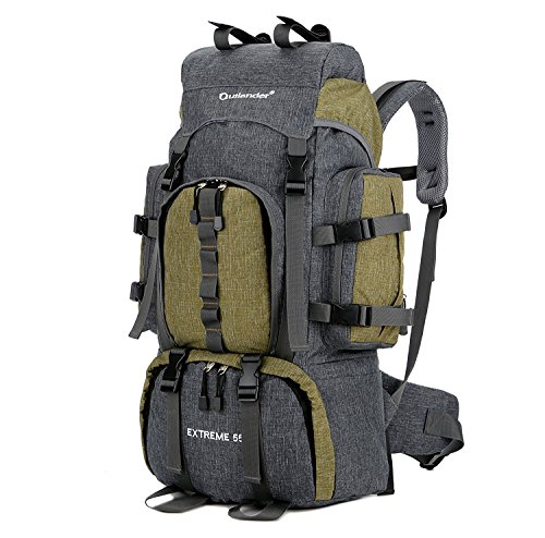 Unistrengh 55L Hunting Backpacks Internal Frame Hiking Backpacking Lightweight Water Resistant Travel Daypack with Rain Cover for Outdoor Camping Climbing Trekking Mountaineering (Army Green)