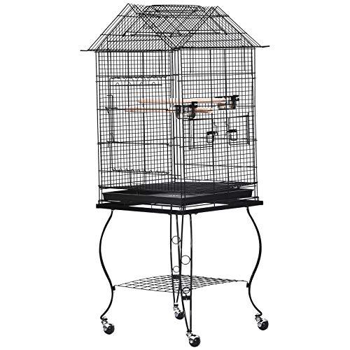 Pawhut Jaula para Pájaros con Soporte y Ruedas Bandeja Extraíble 2 Comederos Repisa Inferior Metal para Canarios Periquitos Loros 53x53x147 cm Negro