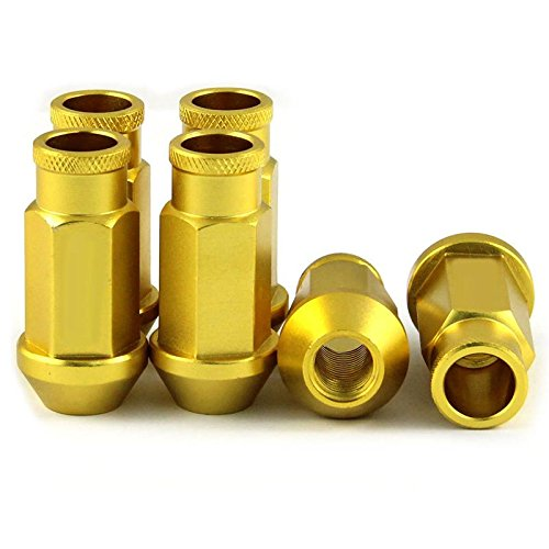 LILAUTO 20pcs/Racing-P1.5 Schraube, 50 mm, M12 mit Lenkrad Racing Lug Nuts, Gelb/Gold Farbe