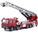 WANGCH 1:50 Escalera aérea Camión de Bomberos Modelo de Coche Juguete/Colección estática Decoración Vehículo de ingeniería/Coche de construcción de aleación multifunción Cumpleaños para niños Rega