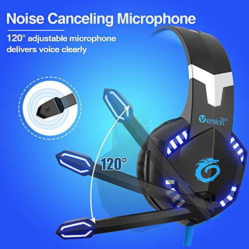 VersionTECH. G2000 Pro Gaming Headset PS4 Xbox One Wired Headphones with 3D Surround Sound, HD Microp   hone, Volume Control, LED Lights, Compatible with Playstation 4, Xbox 1, NS, PC Mac Computer (Blue)