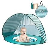 Yalojan Baby Strandzelt mit eingebautem Pool, Tragbares Leichtes Pop-up Baby Strand Zelt, Markise UPF 50+, geeignet für Kinder von 0 bis 3 Jahren, bietet Platz für 1-2 Kinder. (Grüner Streifen)