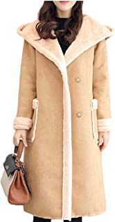 Women's Hooded Lamb Wool Lined Suede Long Quilted Overcoat Parka Coat