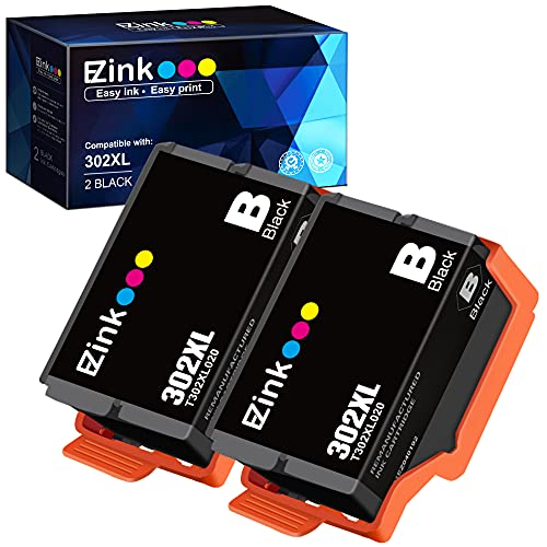 E-Z Ink (TM) Remanufactured Ink Cartridge Replacement for Epson 302XL 302 T302XL T302 to use with Expression Premium XP-6100 XP6100 XP-6000 XP6000 Printer (2 Black)