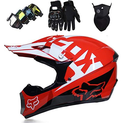Cascos Integrales Infantil con Guantes Gafas Máscara, Aprobado DOT Conjunto Casco Motocross Motocicleta Adultos Casco protector Offroad Dirt Bike con Diseño FOX, Rojo