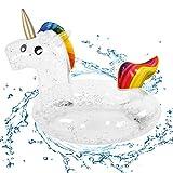 CYSJ Flotador de Piscina Inflable de Unicornio con Brillo, Anillo de Natación para...