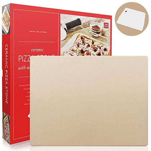 Pizza Stone, Heavy Duty Cordierite Pizza Grilling Stone, Baking Stone, Pizza Pan, Perfect for Oven, BBQ and Grill, Thermal Shock Resistant, Durable and Safe, 15x12 Inch Rectangular