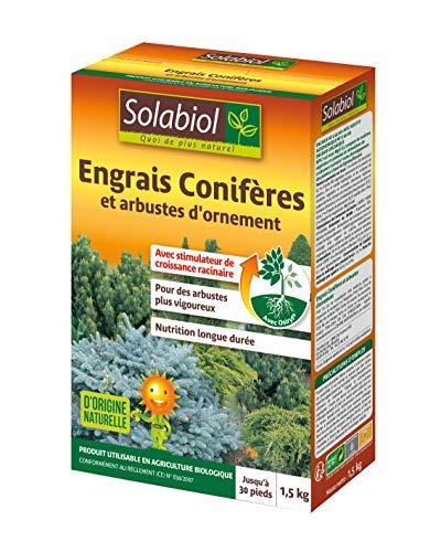 SOLABIOL SOCONY15 Engrais Conifères et Arbustes d'ornement 100% Organique | Action Longue Durée, 1,5 Kg