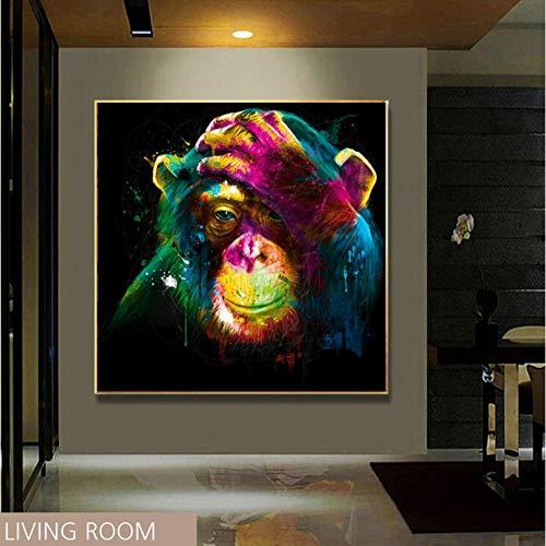 Décoration Peinture Affiche Tableau décoratif Mur Photos Peinture À L'huile Impression Toile Top Idée Décor Art Mural Peinture Murale Sans Pensée Sans Cadre Singe Art Toile Affiche-40x40cm(16x16inch)
