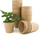 Maceta Biodegradable, Maceta de Fibra de 8 cm, Macetas de Turba para Plantar Plántulas en Interiores y Exteriores para Decoración de Jardines(60 Pcs)