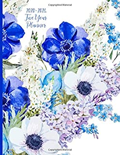 2020-2024 Five Year Planner: Monthly Schedule, Organizer, 60 Months Calendar, Personal, Agenda, Logbook, Appointment, Notebook, Journal, For The Next 5 Years. Blue, Flowers.