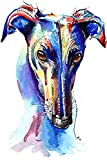 Greyhound Art Whippet Print Lurcher Italian Greyhound Painting Art Print Birthday Mothers Day Gift Stocking Filler Picture - A1, A2, A3, A4, A5 Sizes - Mounting Options Available