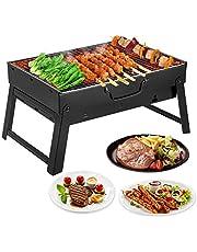 Mbuynow Grillgrill, bärbar grill för 4–6 personer, stor storlek (44,5 x 29,5 x 24 cm) träkolgrill för bord camping utomhus trädgård grill grillredskap