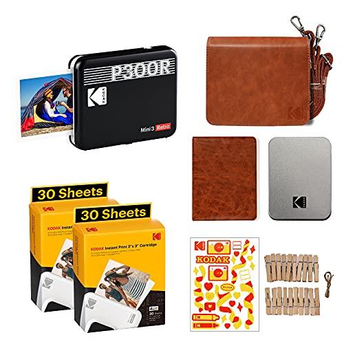 Kodak P300 Mini 3 Retro, Mobiler Handy Fotodrucker, Kompatibel mit Smartphone (iOS & Android), Bluetooth, 76x76 mm, 4Pass-Technologie, Laminierung, Zubehör-Bundel, 68 Blatt, Schwarz