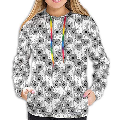 Women's Hoodies Tops,Simplistic Drawn Wagon Wheel Figures On Twiggy Lines with Leaves,Lady Fashion Casual Sweatshirt(S)