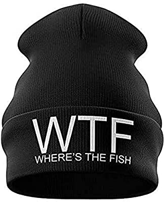 Purple Print House Fishing Gifts for Men - WTF Wheres The Fish Embroidered Carp Fishing Beanie Hat Mens Presents Funny Fishing Tackle