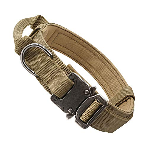Tactical Dog Collar Adjustable Military Nylon Thick Dog Collars Heavy Duty Metal Buckle and Handle for Medium Large Dog