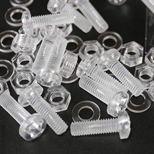 Paquete de 20 tornillos y tuercas, Arandelas, transparentes, de plástico acrílico. M6...