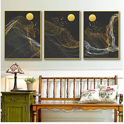 Caomei schilderij, abstract, maandesign, wand, kunst, minimalistisch, eenvoudig, voor woonkamer, decoratie, canvas, doek, muurschildering, foto, 40 x 50 cm x 3 zonder lijst