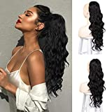Isaic Long Wavy Ponytail Extension for Women Black Drawstring Ponytail Synthetic Clip in Ponytail Heat Resistant Hairpiece 24 Inch (Black)