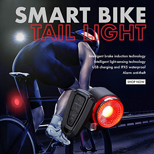 vapeonly Smart Bicycle Tail Light with Wireless Anti-theft Alarm Function, Remotely controlled Bike Taillights, Waterproof USB Charging