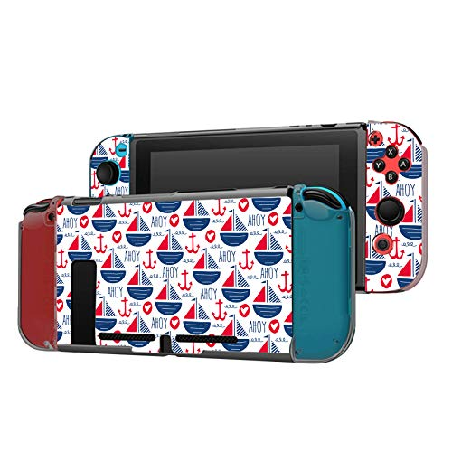 Dockable Case Compatible with Nintendo Switch Console and Joy-Con Controller, Patterned ( Ahoy sailing boats and anchors ) Protective Case Cover with Tempered Glass Screen