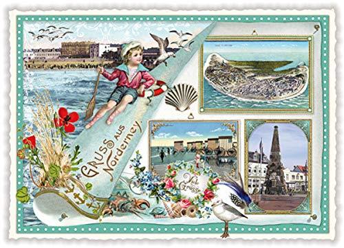 Nostalgische Ansichtskarte mit Glitzer * Gruß aus Norderney