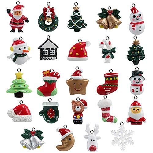 Naler 24pcs Christmas Fascino del Pendente, Fascino della Resina del Pupazzo di Neve dell'alce del Babbo Natale per l'ornamento della Decorazione di Natale DIY Craft