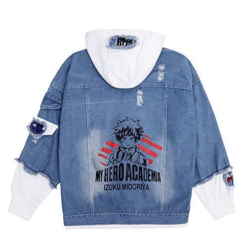My Hero Academia Midoriya Izuku Deku Denim Jackets Coats Todoroki Shouto Denim Jackets (Midoriya Izuku Denim Jackets, L)
