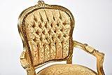 Way Home Store Sillón Luis estilo francés Luigi XVI dorado y tela dorada con hojas