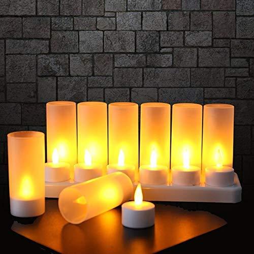 EXTSUD 12er LED Flammenlose Kerzen,Wiederaufladbare Kerzen, Batteriebetriebene Kerzen Kabellose Teelichter LED-Weihnachtskerzen Kerzenlichter Led Wachskerzen Mit Ladestation(Ohne Netzteil)