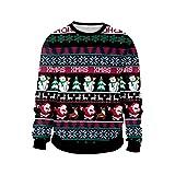 ODOKEI Sudadera Navidad Estampadas 3D Pareja Sudaderas Navideñas Unisex Jersey Sueter Navideño Hombre Mujer Reno Sweaters Pullover Cuello Redondo Largas Estilo 8 L