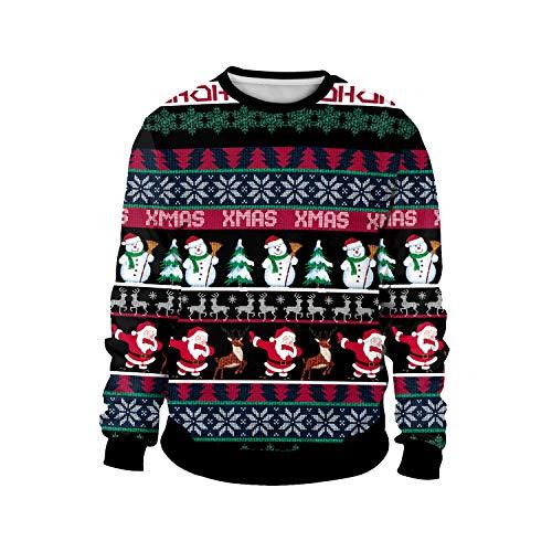 ODOKEI Sudadera Navidad Estampadas 3D Pareja Sudaderas Navideñas Unisex Jersey Sueter Navideño Hombre Mujer Reno Sweaters Pullover Cuello Redondo Largas