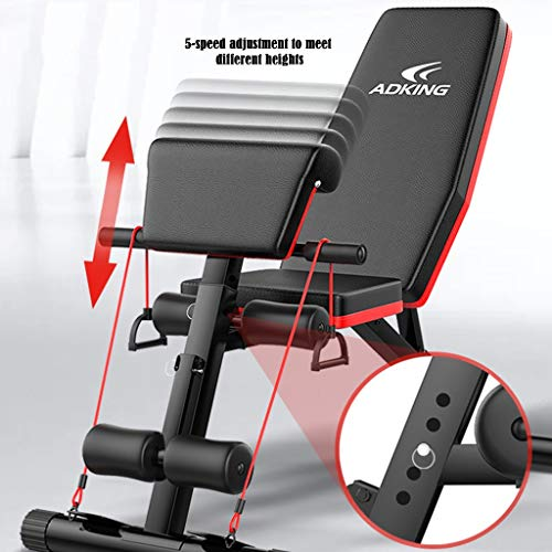 Adjustable Weight Bench, Utility Weight Exercise Workout Bench for Home Strength Training Multi-Purpose Folding Flat Incline Decline Bench Press Sit Up Abs Benchs with 2 Fitness Rope