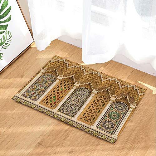 FEIYANG Décor marocain Rustique 3D Motifs géométriques Maroc Tapis de Bain Tapis de paillasson Anti-dérapant étage entrées intérieures Tapis de Porte Avant Enfants Tapis de Bain 60X40CM