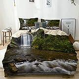 MOTINE Duvet Cover Sheet Set,Beige,Waterfalls in The Mountain in North Western Lands Calming River Scene,Soft Microfiber Bedding Set-3 Piece Set,Queen