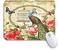 KAPANOU マウスパッド、フランスの孔雀とバラの花の空のケージ おしゃれ 耐久性が良い 滑り止めゴム底 ゲーミングなど適用 マウス 用ノートブックコンピュータマウスマット