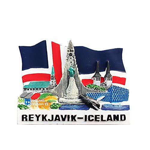 Reykjavík Island Flagge Fin Wal Gemälde Kühlschrank Magnet Souvenir Geschenk 3D Harz Home Küche Dekoration Magnet Aufkleber Kühlschrank Magnet