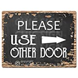 Please Use Other Door Right Arrow Chic Sign Rustic Vintage Chalkboard Style Retro Kitchen Bar Pub Coffee Shop Wall Decor 9'x12' Metal Plate Sign Home Store Decor Plaques