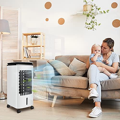 LARS360 Condizionatore portatile 3 in 1 con 4 litri di raffreddamento, display a LED, 4 cristalli di ghiaccio 80 W, climatizzatore, umidificatore refrigeratore ad aria per casa e ufficio
