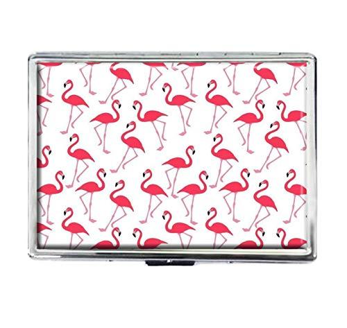 Pink Flamingo Zigarettenetui Fashion Custom Silber Edelstahl Big Zigaretten Etui Spender Kartenbox Halter Aufbewahrungsbox Tasche Brieftasche für Damen Herren
