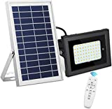 SEMILITS Solar Flood Lights Outdoor Waterproof Solar Billboard Light Dusk to Dawn 60 LED Security Lights with Remote for Backyard Gazebo Pool Warm White
