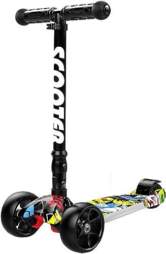 CDREAM Kinderscooter Dreirad Mit Verstellbarem Lenker Kinderroller Roller Scooter Blinken Für Kinder Ab 2-12 Jahren Bis 70kg Belastbar,schwarz