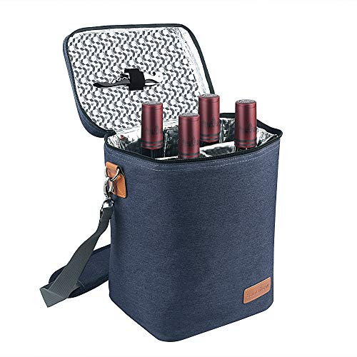 Insulated Wine Carrier Tote - Samshow 4 Bottle Wine Carrier with Shoulder Strap, Padded Protection, and Corkscrew for Travel, Camping and Picnic, Perfect Wine Lover (dark blue)